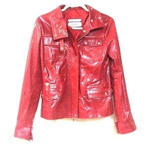 Gorgeous Vera Pelle red leather biker jacket